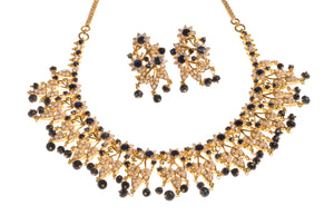 22ct Gold Necklace & Earring Suite set with Cultured Pearls and Black & White Stones (N&E-3680)