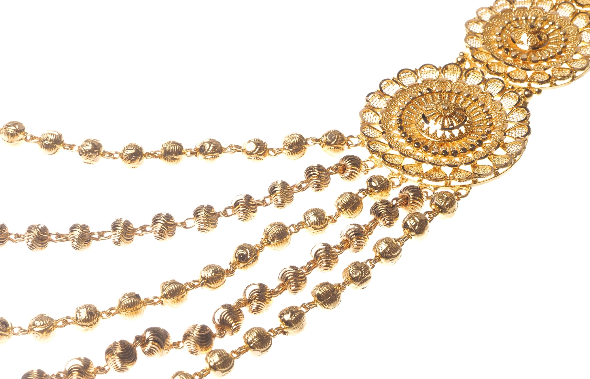 22ct Gold Necklace & Earring Bridal Set | Rani Haar | Patta with filigree and diamond cut bead design (150.2g) N&E-5929