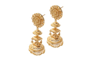 22ct Gold Necklace & Earring Bridal Set | Rani Haar | Patta with filigree and diamond cut bead design (N&E-5929)