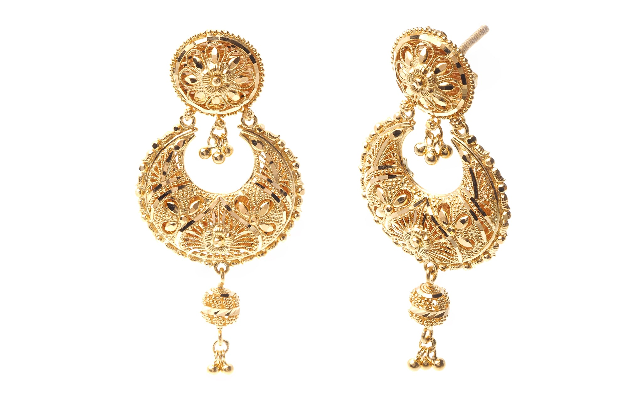 22ct Gold Necklace & Earring Bridal Set | Rani Haar | Patta with filigree design (125.4g) N&E-5940