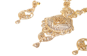 22ct Gold Necklace & Earring Bridal Set | Rani Haar | Patta with filigree design (N&E-5947)