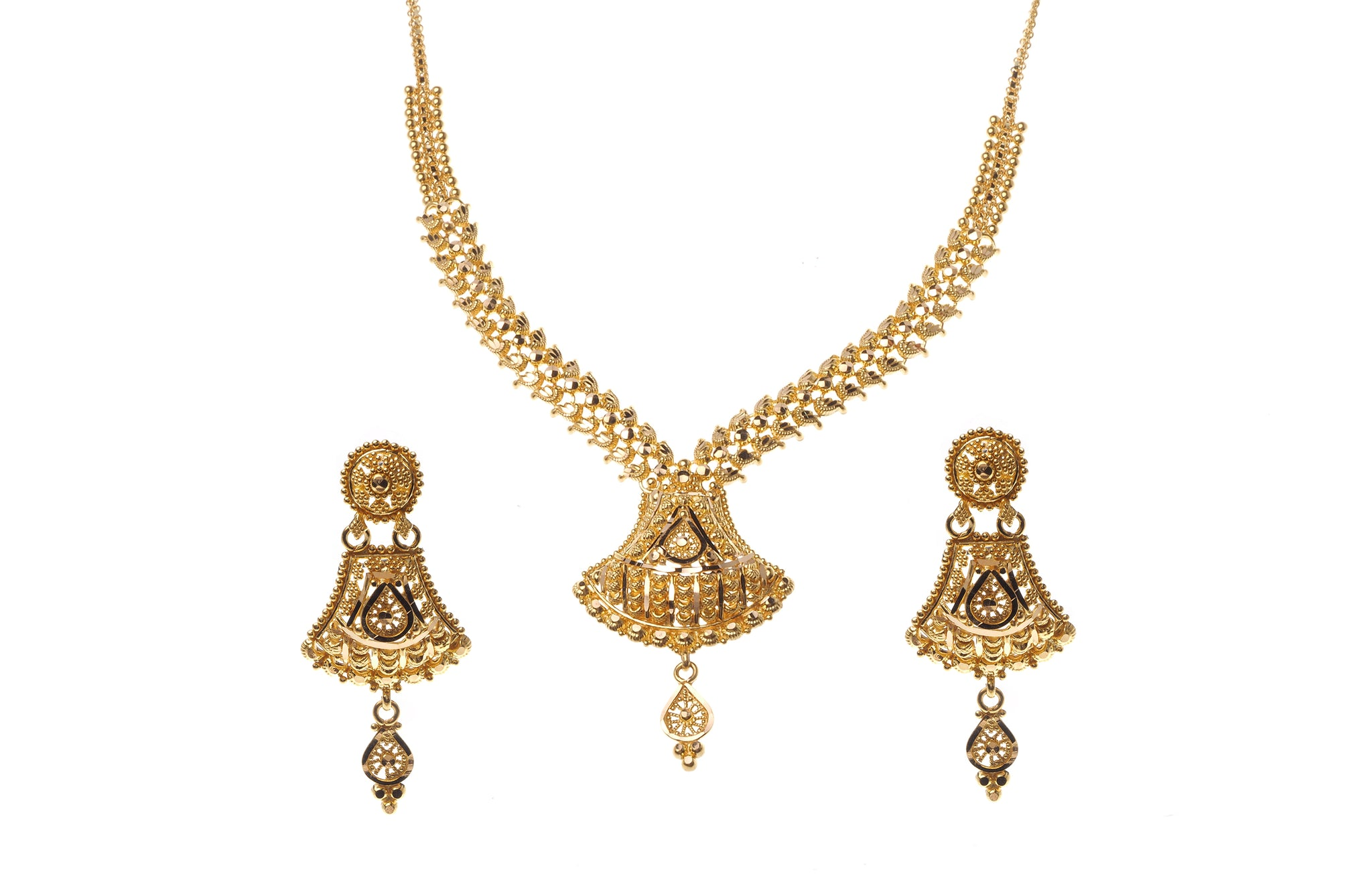 22 Carat Gold Necklace and Earrings Set (N&E-6470) (online price ...