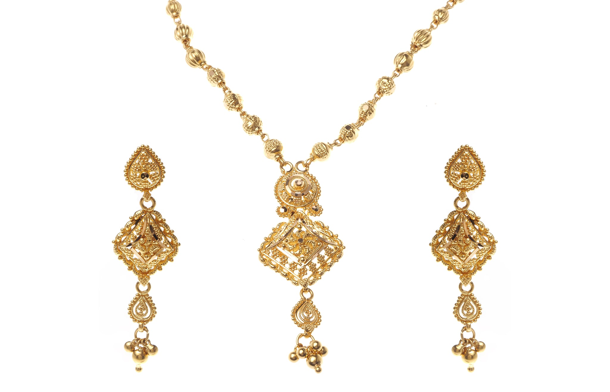 22ct Gold Necklace and Earrings Set (17.4g) N&E-6472