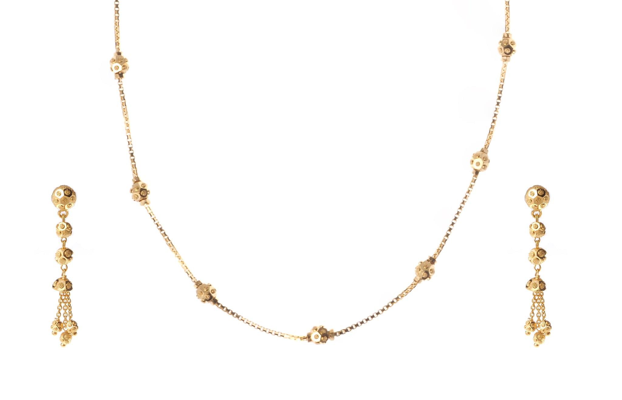 22ct Gold Necklace and Earrings Set (N&E-7175)
