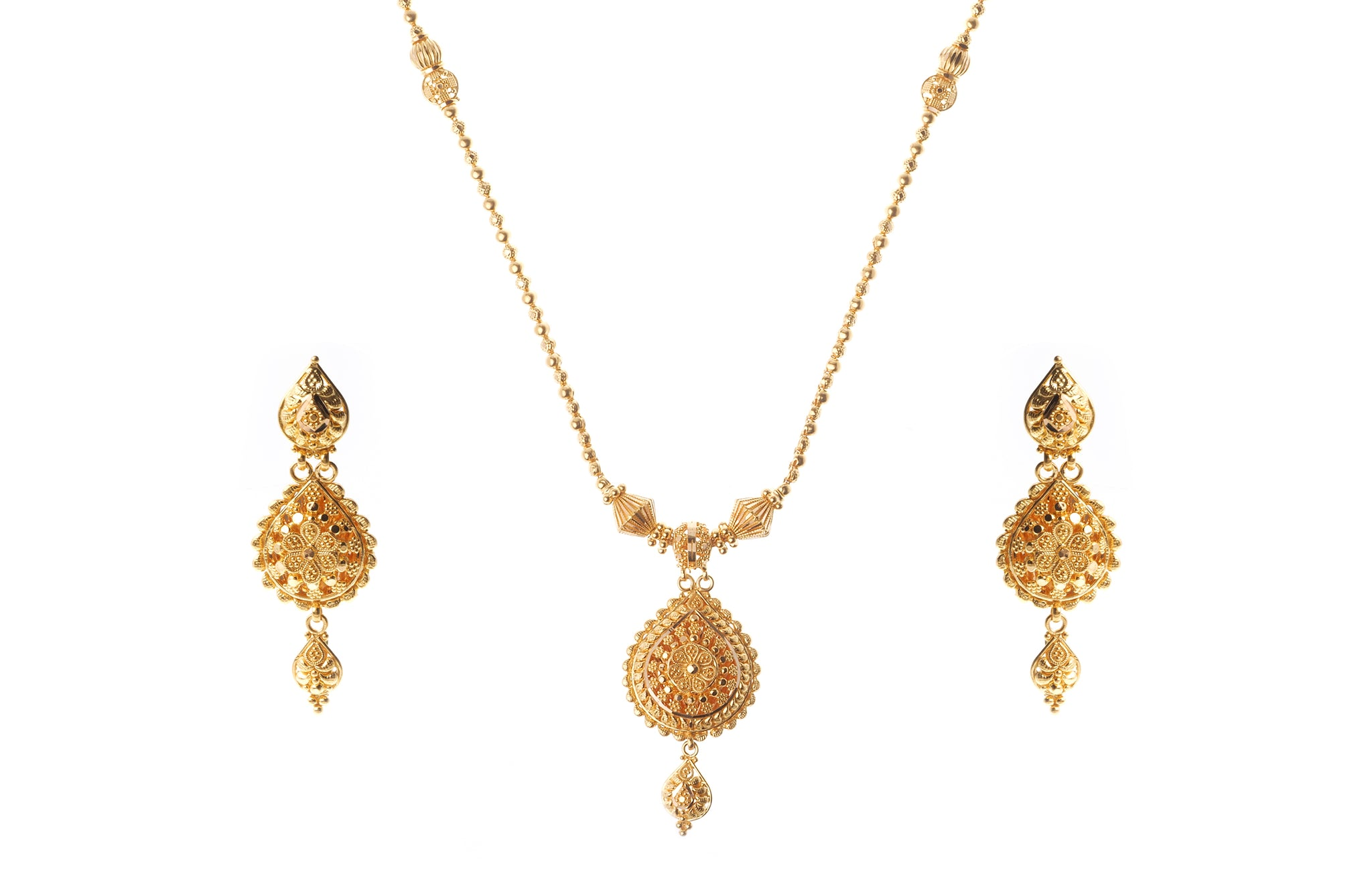 22ct Gold Necklace and Earrings Set with Diamond Cut Design (34g) N&E-7200