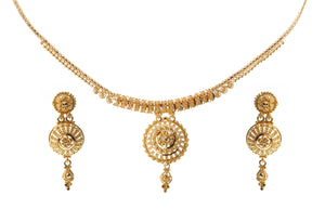 22ct Gold Necklace and Earrings Set with Diamond Cut Design (N&E-7239)