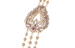 22ct Gold Antiquated Look Necklace & Earring Bridal Set | Rani Haar | Patta with Cubic Zirconia Stones (N&E-STP1625)