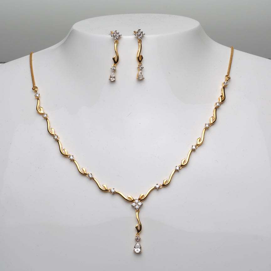 22ct Gold Cubic Zirconia Necklace and Earrings Set (NSE7065)