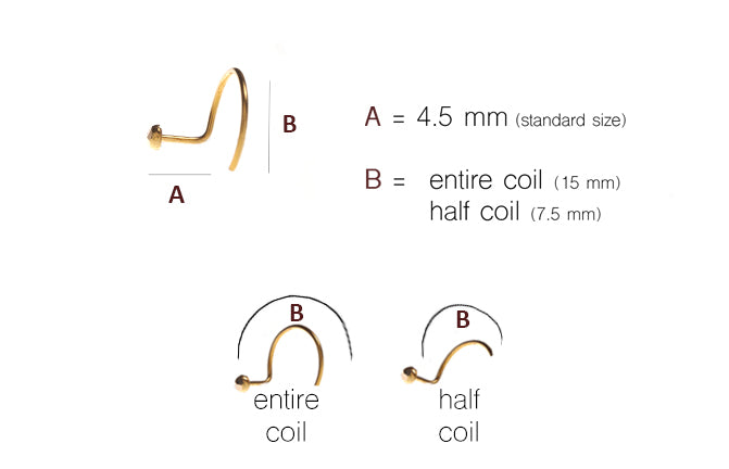 18ct Gold Nose Stud Wire Coil Back (NS-2952)