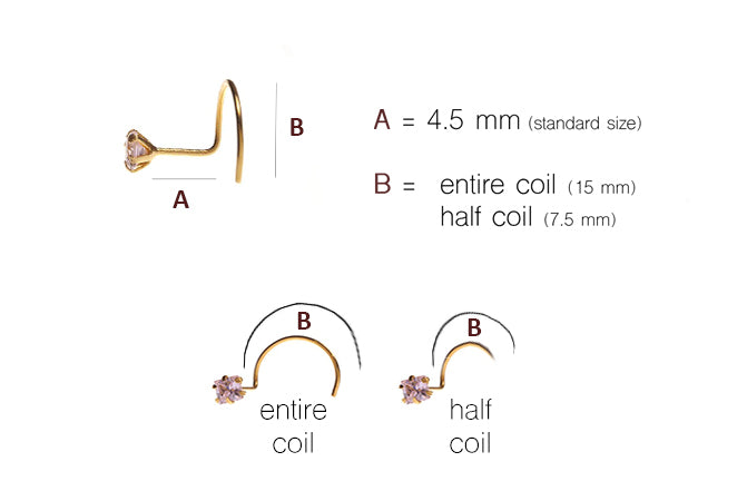 18ct Gold Wire Coil Back Nose Stud with Flower Design (NS-3793)