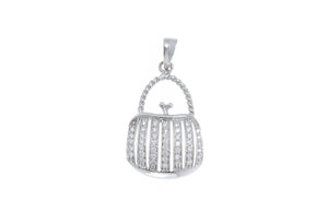 18ct White Gold Cubic Zirconia 'Handbag' Design Pendant, Minar Jewellers - 2