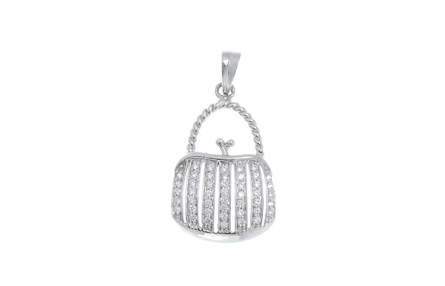 18ct White Gold Cubic Zirconia 'Handbag' Design Pendant, Minar Jewellers - 1