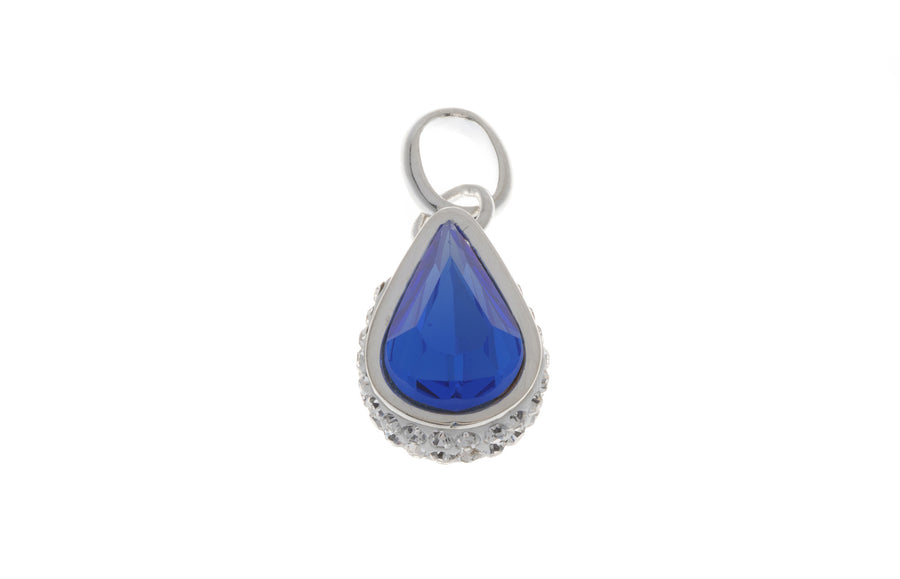 Rhodium Plated Sterling Silver Pendant with Synthetic Blue Sapphire, Minar Jewellers - 1