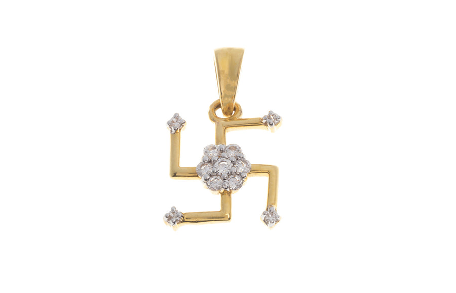 22ct Yellow Gold Cubic Zirconia Saathiya Pendant (G5341), Minar Jewellers - 1