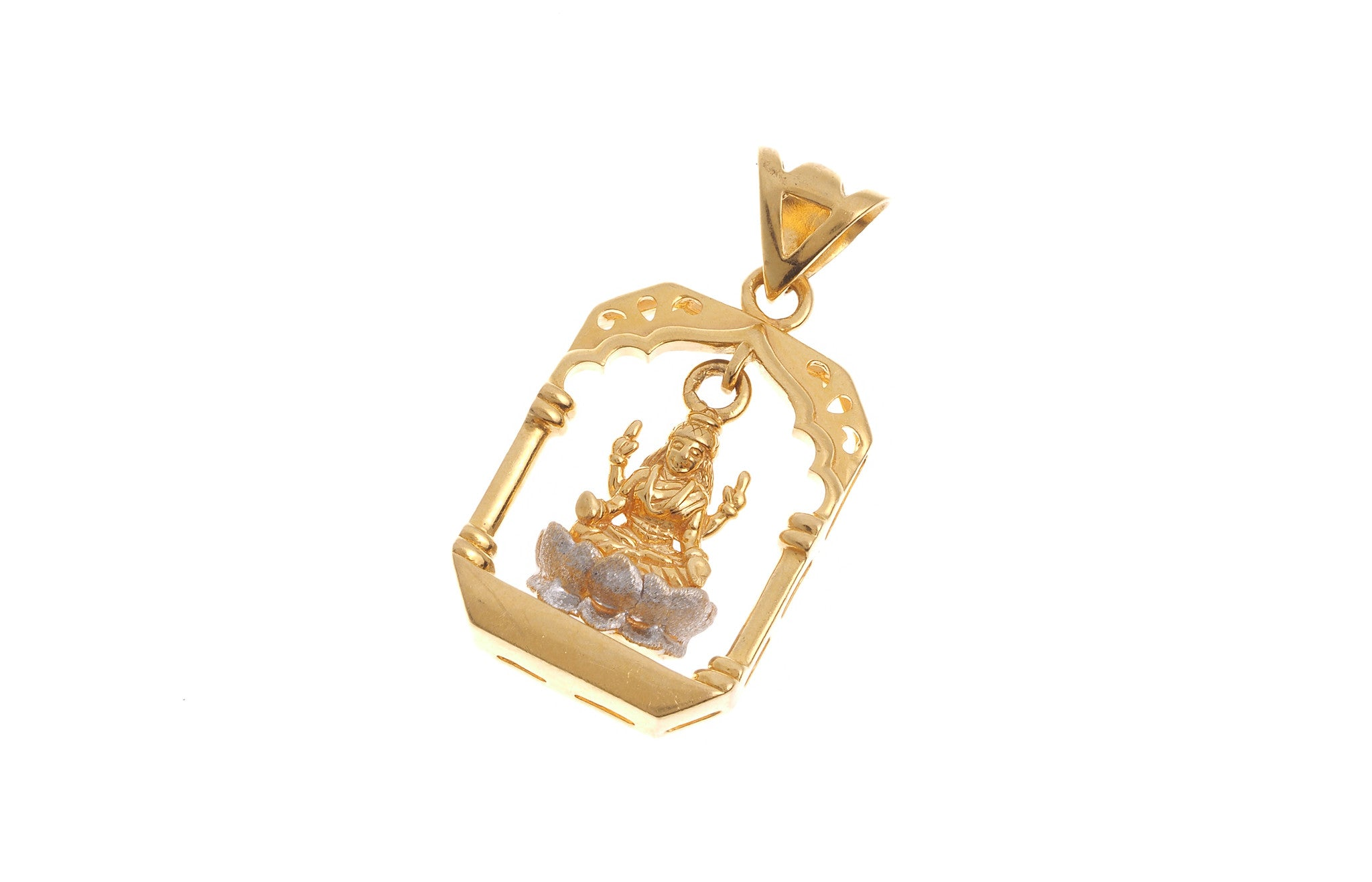 22ct Yellow Gold Lakshmi Pendant (G5337), Minar Jewellers - 1