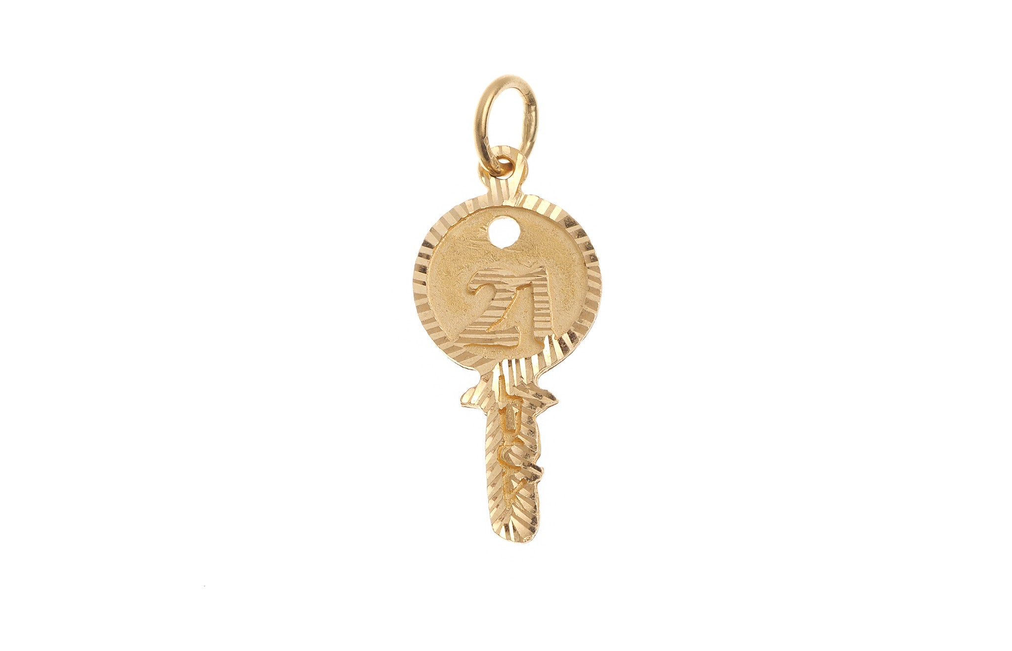 22ct Yellow Gold '21' Key Pendant (G5342), Minar Jewellers - 2