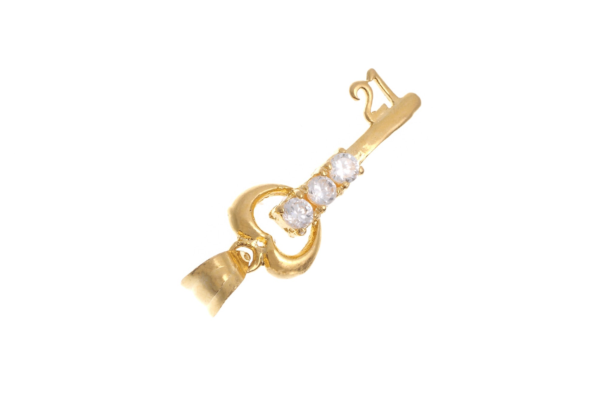 22ct Yellow Gold Cubic Zirconia '21' Key Pendant (G5346), Minar Jewellers - 1