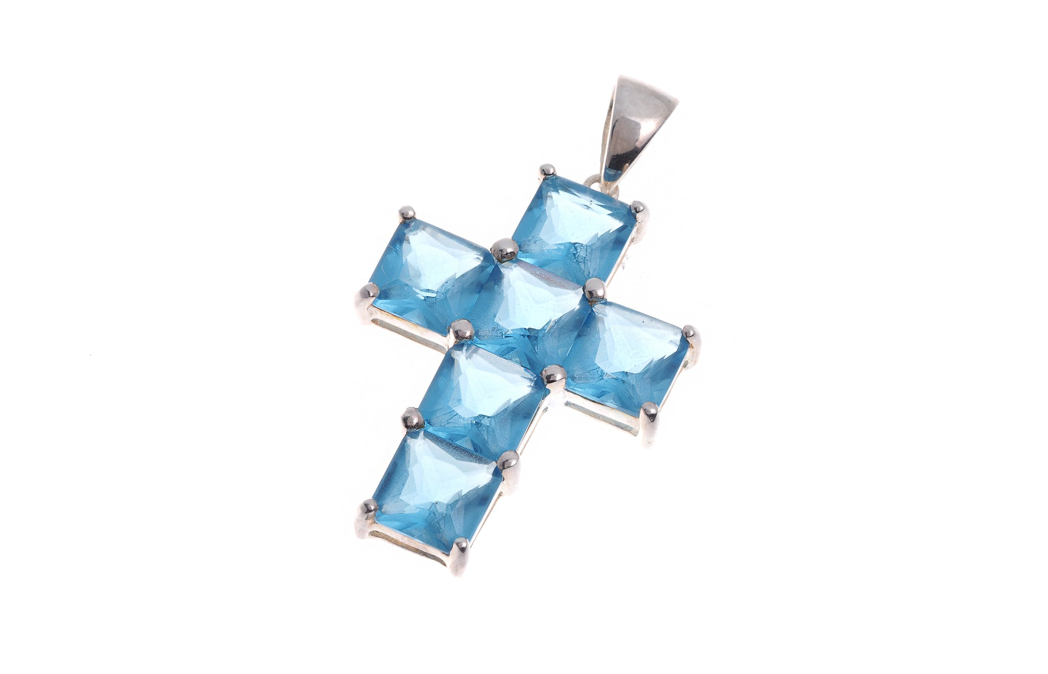 Sterling Silver Cross Blue Stone Pendant (G5348), Minar Jewellers - 1