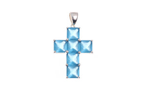 Sterling Silver Cross Blue Stone Pendant (G5348), Minar Jewellers - 2