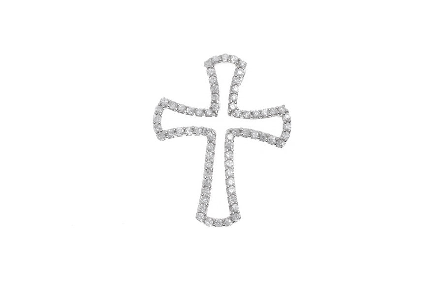 Sterling Silver Cubic Zirconia Cross Pendant (P-5012)