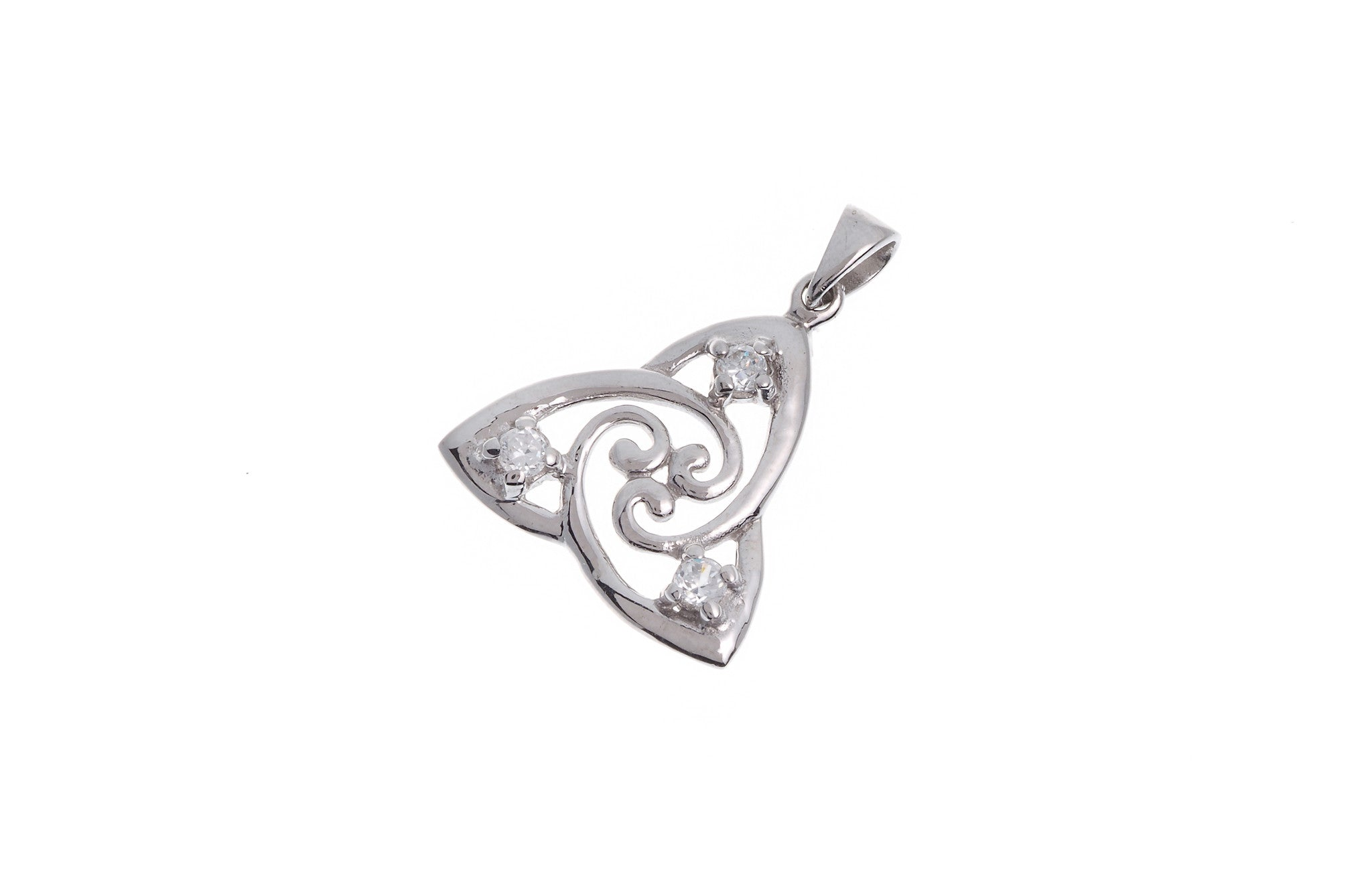 Sterling Silver Cubic Zirconia Celtic Pendant (G5355), Minar Jewellers - 1