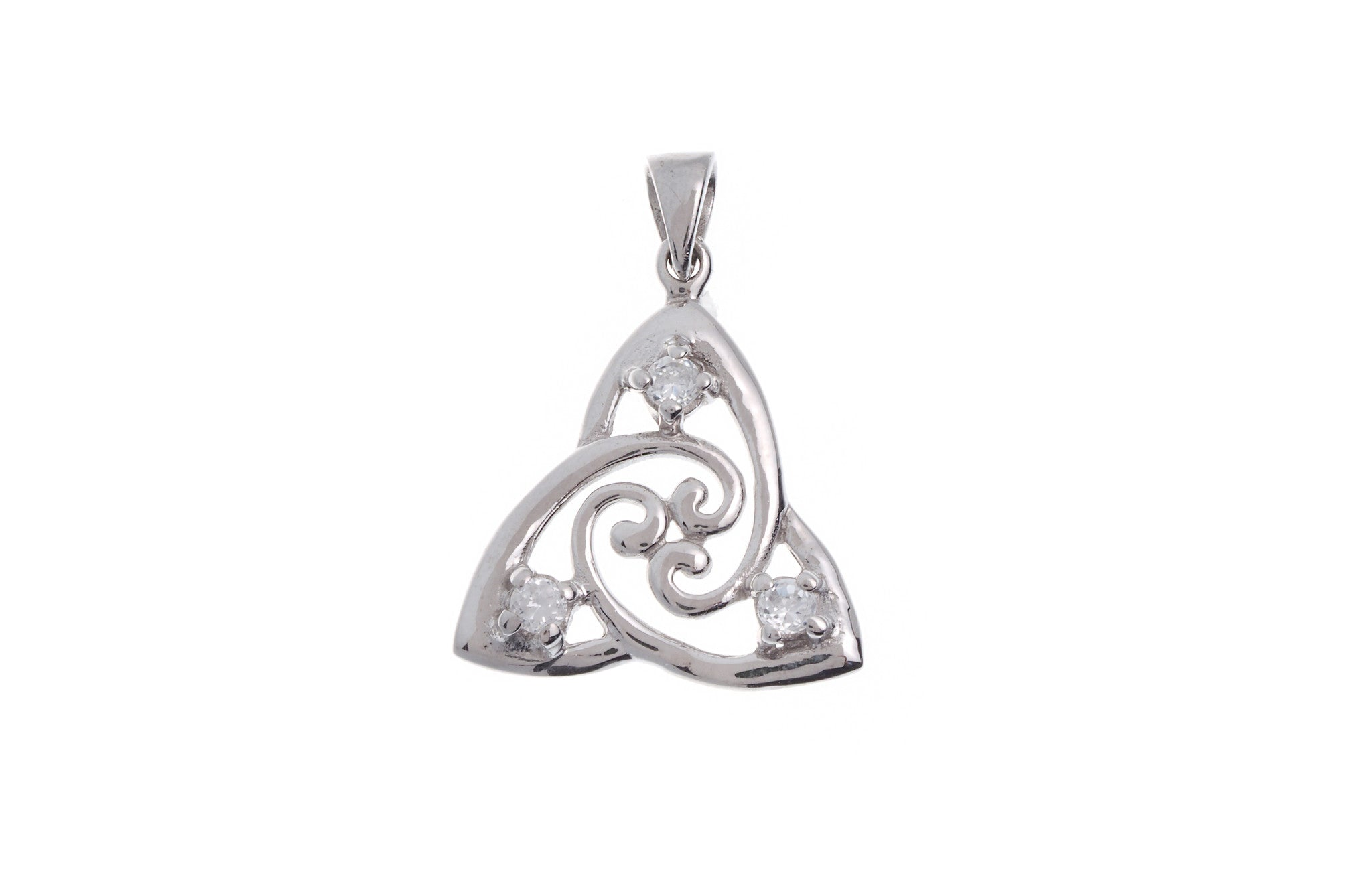 Sterling Silver Cubic Zirconia Celtic Pendant (G5355), Minar Jewellers - 2