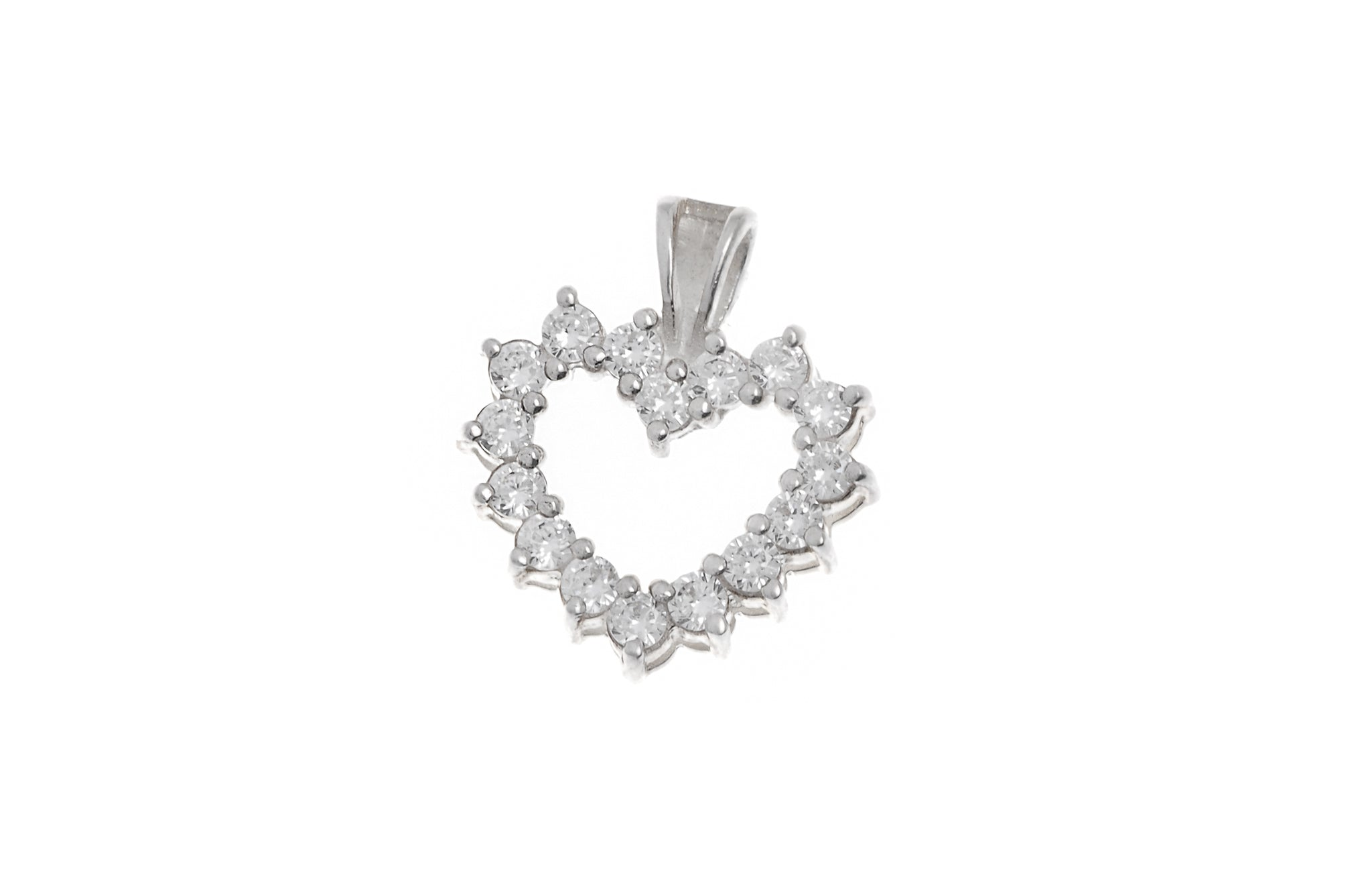 Sterling Silver Cubic Zirconia Heart Pendant (P-5025)