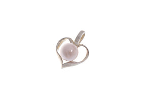 Sterling Silver Cultured Pearl Heart Pendant (G5371), Minar Jewellers - 1