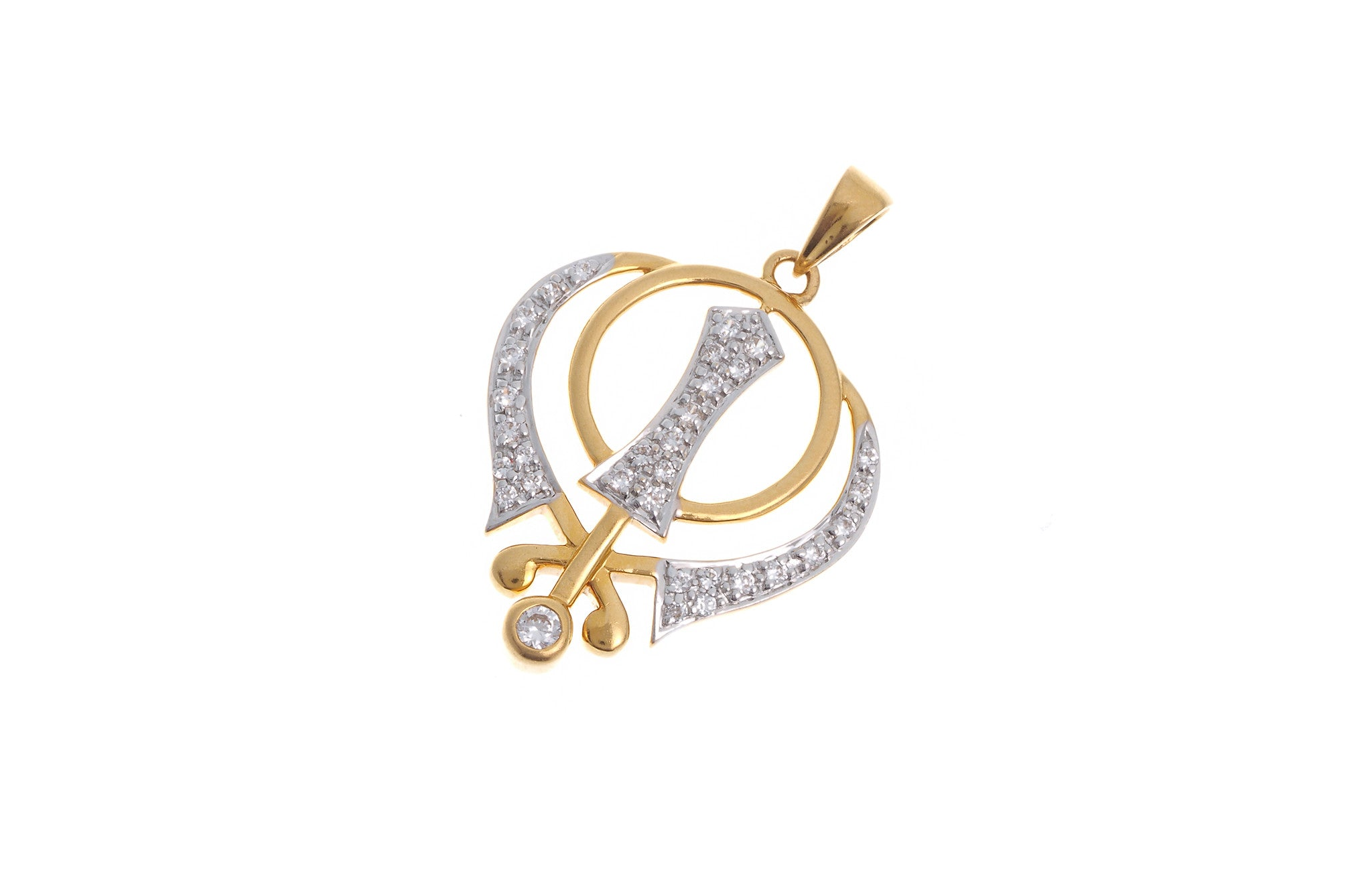 22ct Yellow Gold Cubic Zirconia Khanda Pendant (G5601), Minar Jewellers - 1