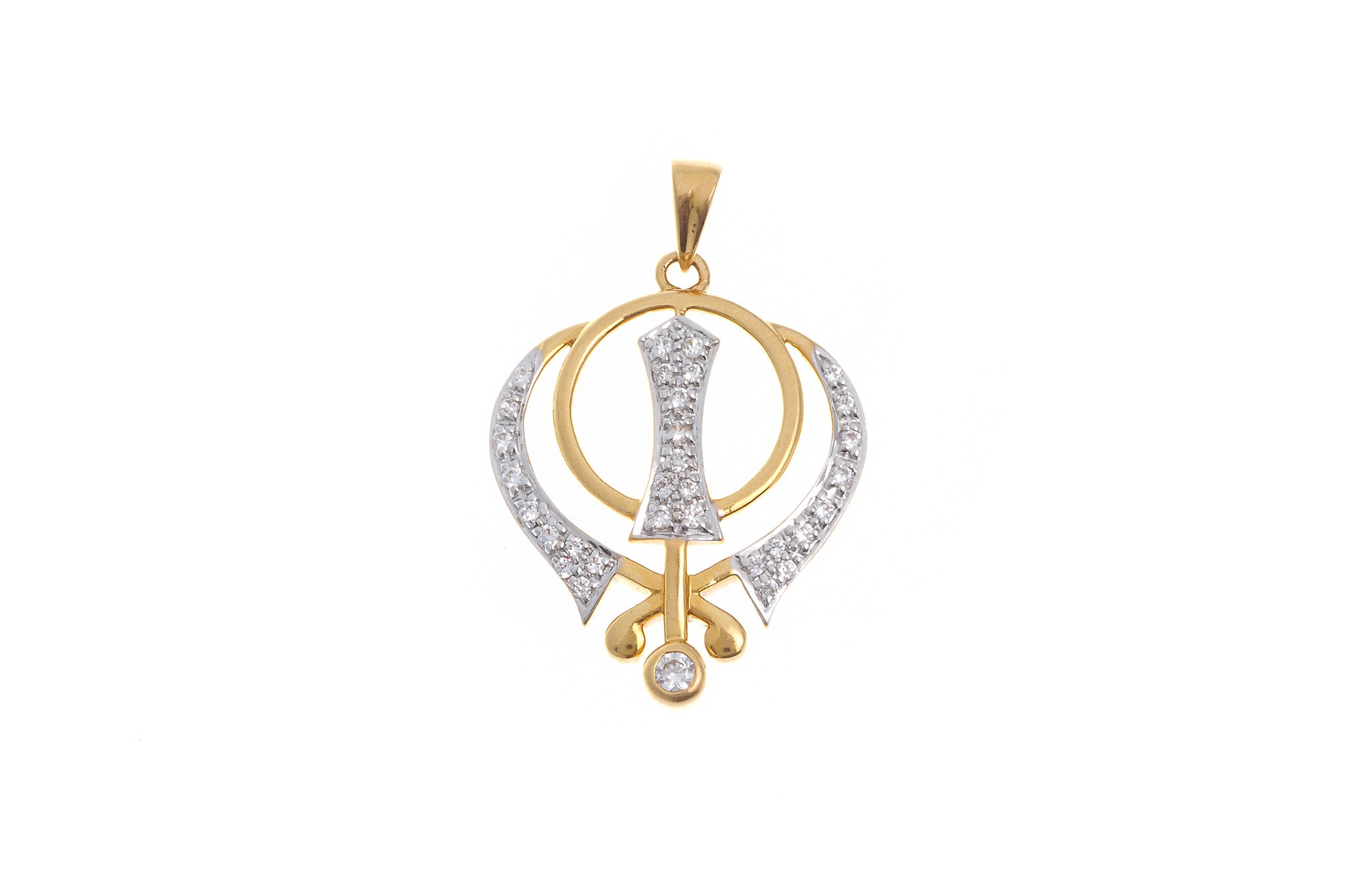 22ct Yellow Gold Cubic Zirconia Khanda Pendant (G5601), Minar Jewellers - 2
