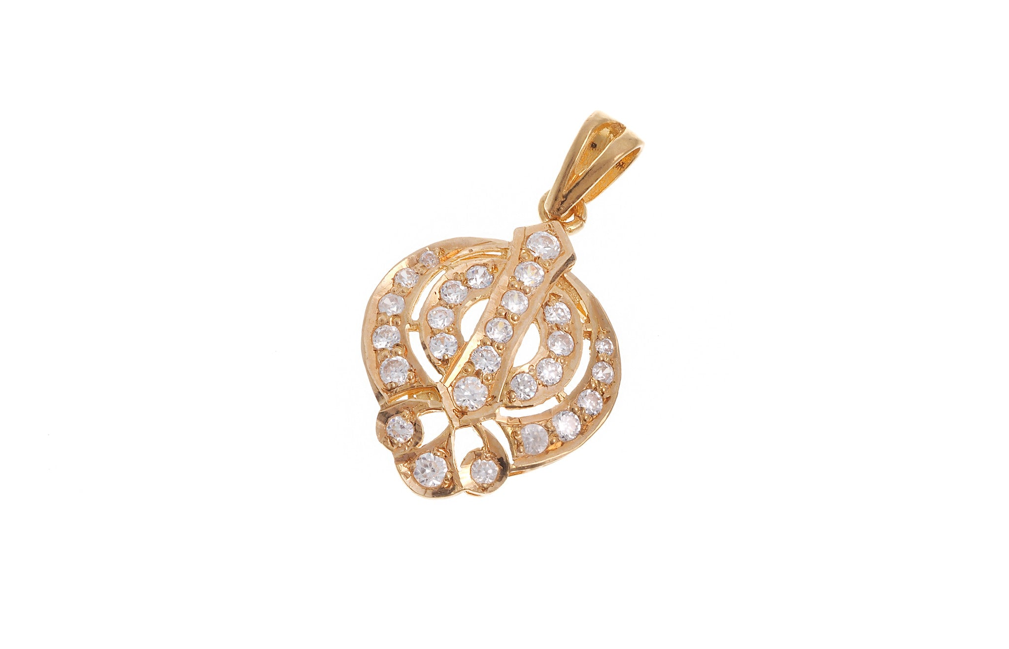 22ct Yellow Gold Cubic Zirconia Khanda Pendant (G5602), Minar Jewellers - 1