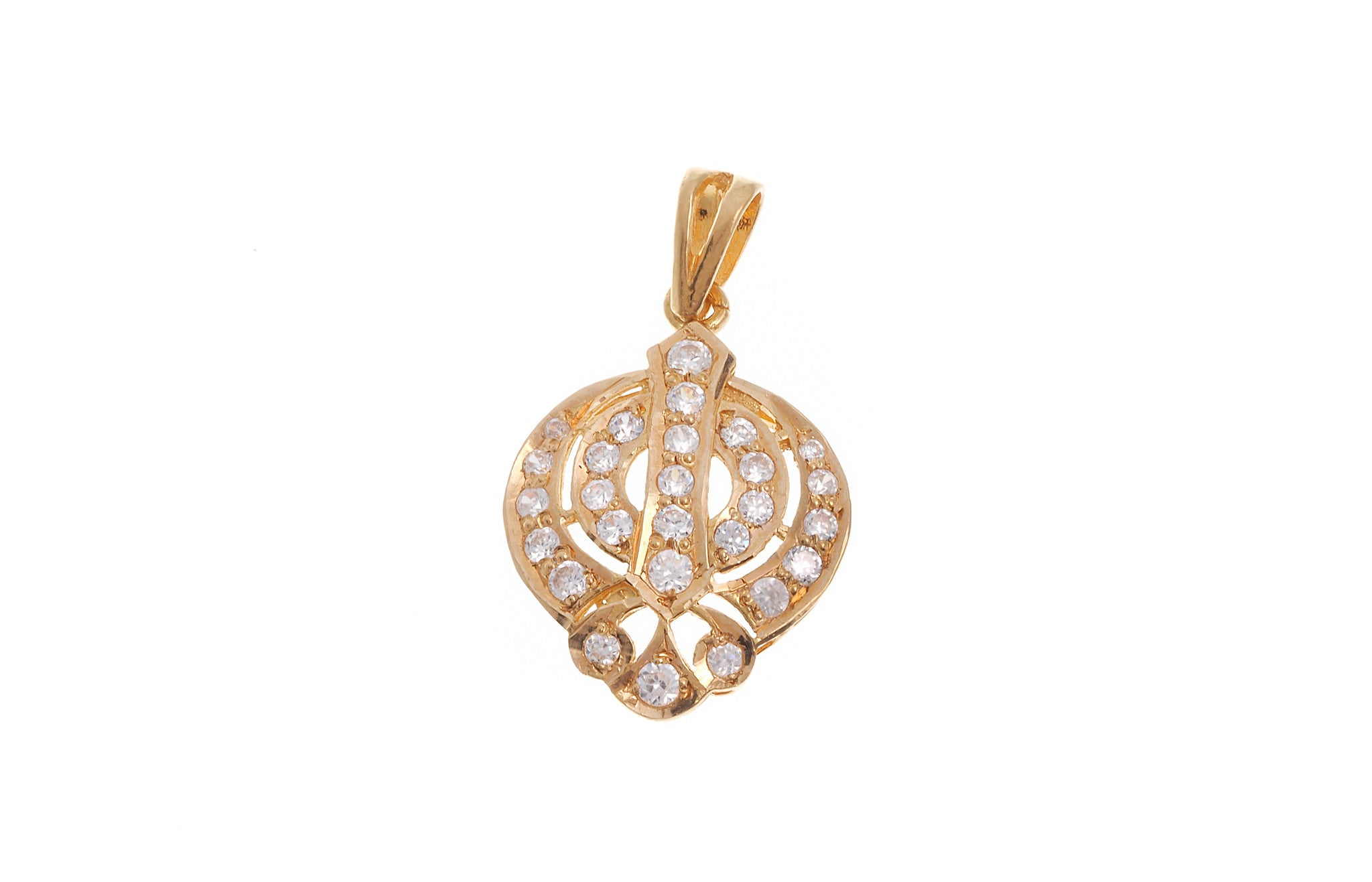 22ct Yellow Gold Cubic Zirconia Khanda Pendant (G5602), Minar Jewellers - 2