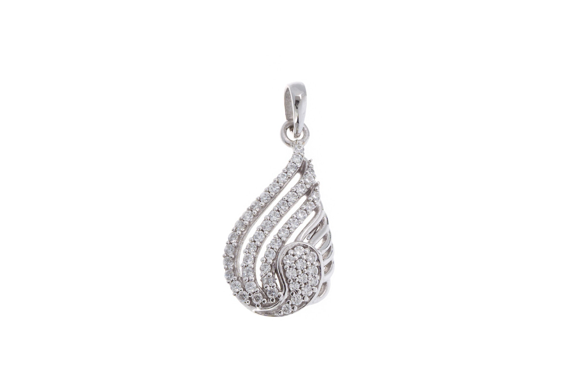 18ct White Gold Cubic Zirconia Pendant, Minar Jewellers - 2