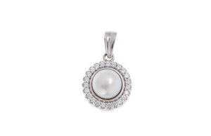 18ct White Gold Cubic Zirconia & Cultured Pearl Pendant, Minar Jewellers - 2