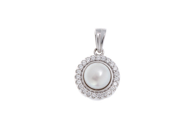 18ct White Gold Cubic Zirconia & Cultured Pearl Pendant, Minar Jewellers - 1