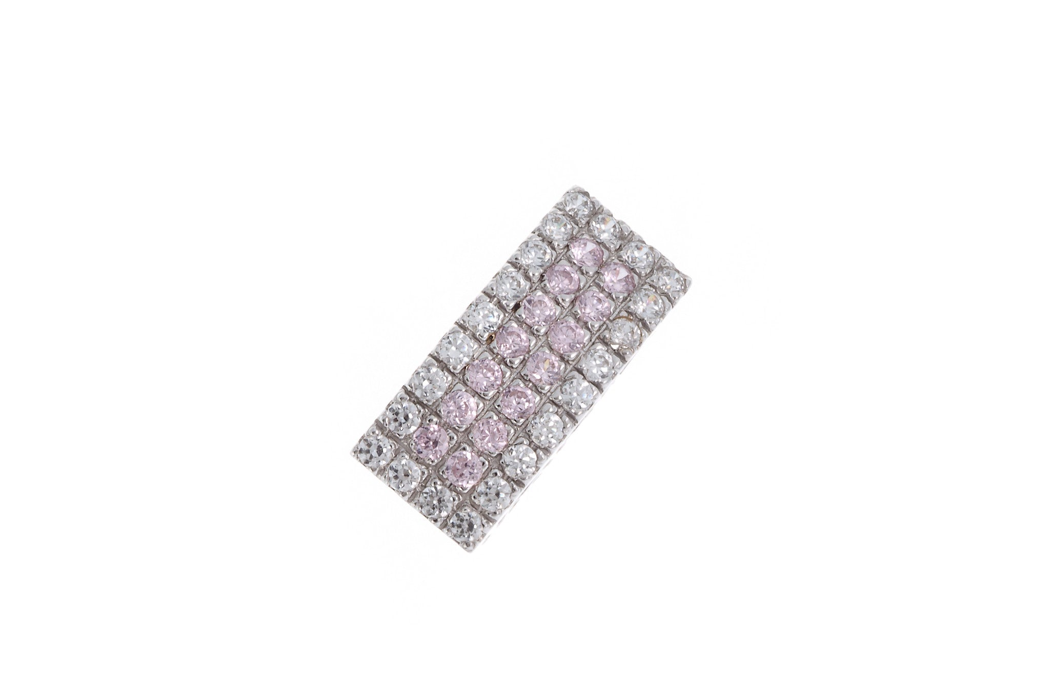 18ct White Gold Cubic Zirconia (Pink & White Stones) Pendant, Minar Jewellers - 1