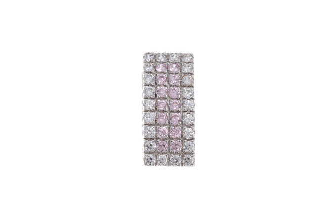 18ct White Gold Cubic Zirconia (Pink & White Stones) Pendant, Minar Jewellers - 2