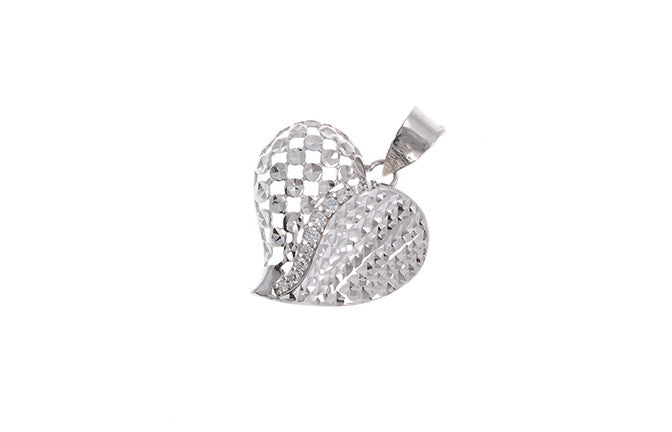 18ct White Gold Cubic Zirconia 'Heart' Pendant, Minar Jewellers - 1
