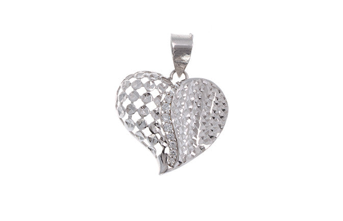 18ct White Gold Cubic Zirconia 'Heart' Pendant, Minar Jewellers - 2
