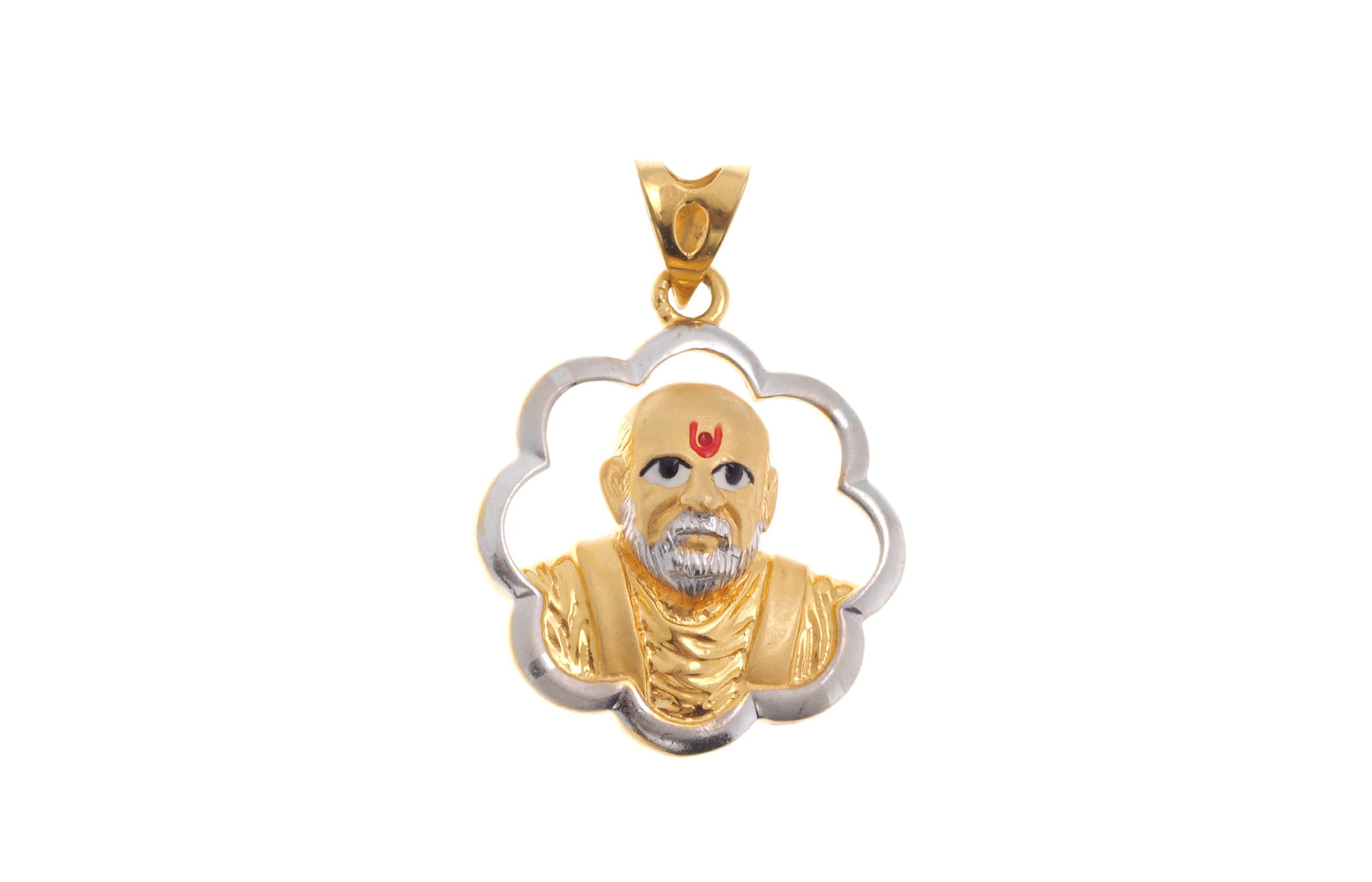22ct Yellow Gold Pramukh Swami Pendant, Minar Jewellers - 2