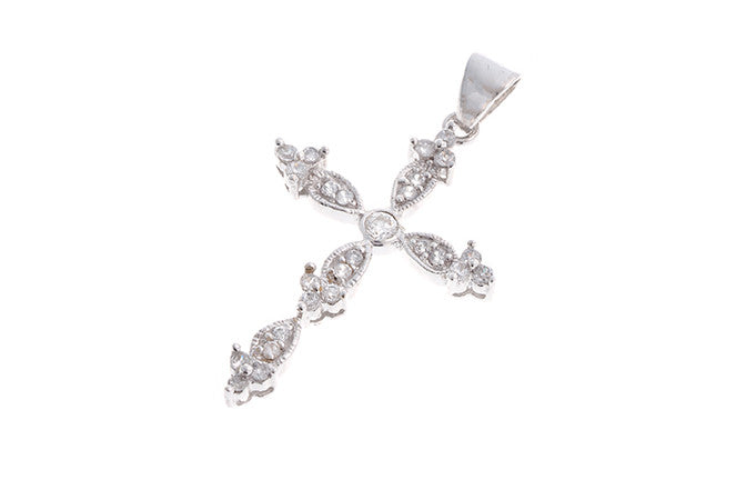 18ct White Gold Cubic Zirconia Cross Pendant (2.2g) (P-5486)