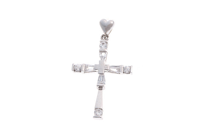 18ct White Gold Cubic Zirconia Cross Pendant (2.1g) (P-5487)