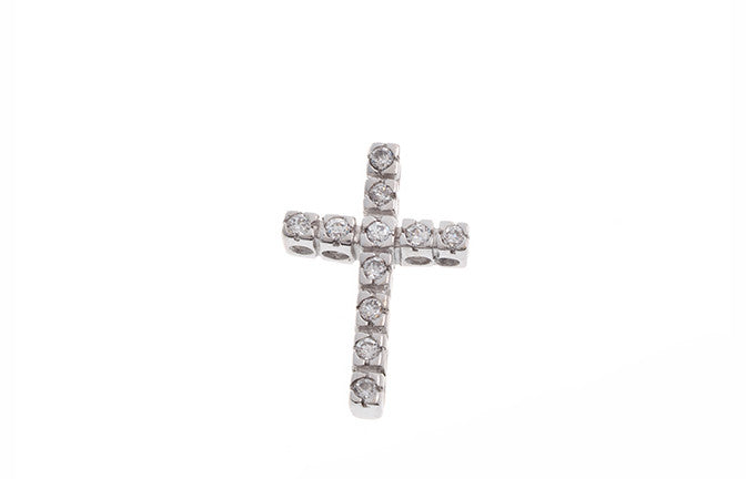 18ct White Gold Cubic Zirconia Cross Pendant (1.9g) (P-5488)