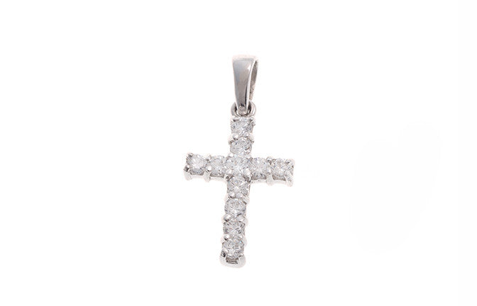 18ct White Gold Cubic Zirconia Cross Pendant (1.2g) (P-5489)