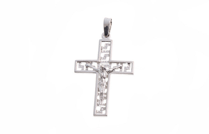 18ct White Gold Crucifix Pendant (P-5492)