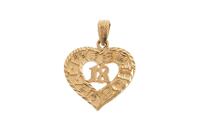 22ct Yellow Gold Heart 'Happy Birthday' '18' Pendant (6.8g) P-5549