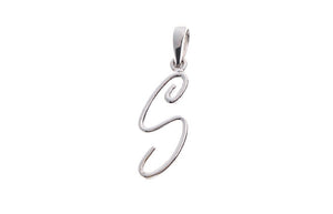 18ct White Gold 'S' Initial Pendant (P-5568)