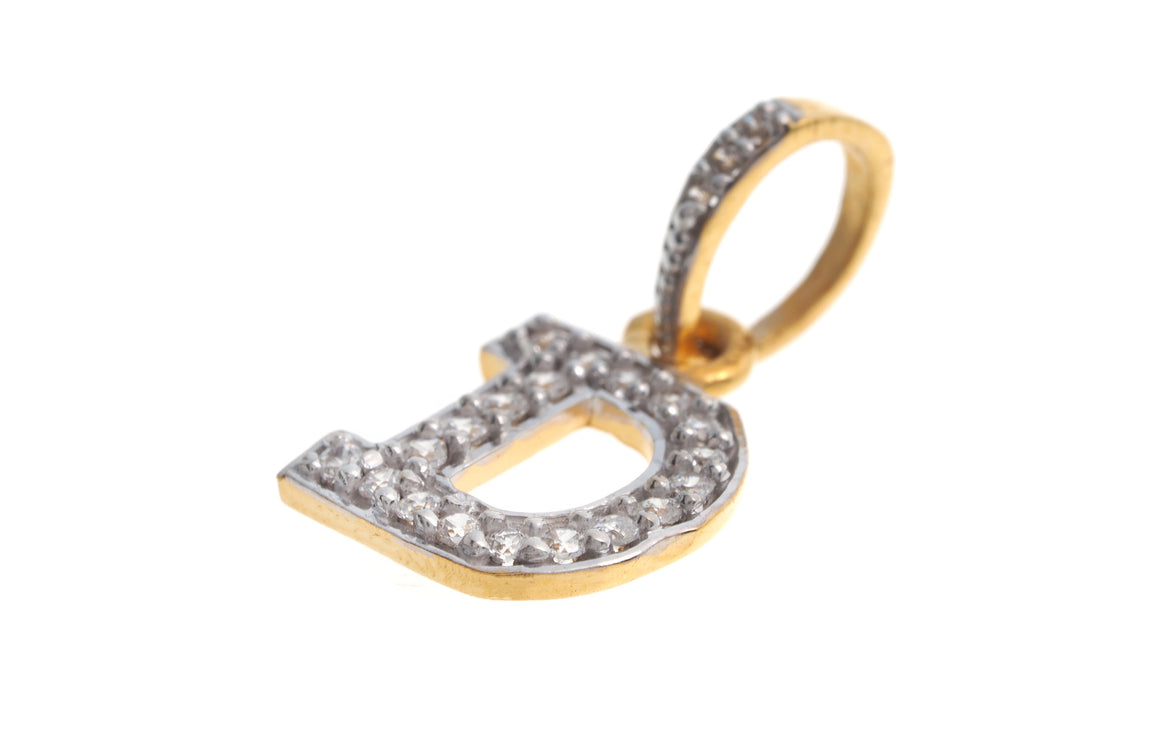 22ct Yellow Gold Cubic Zirconia 'D' Initial Pendant (P-5594)