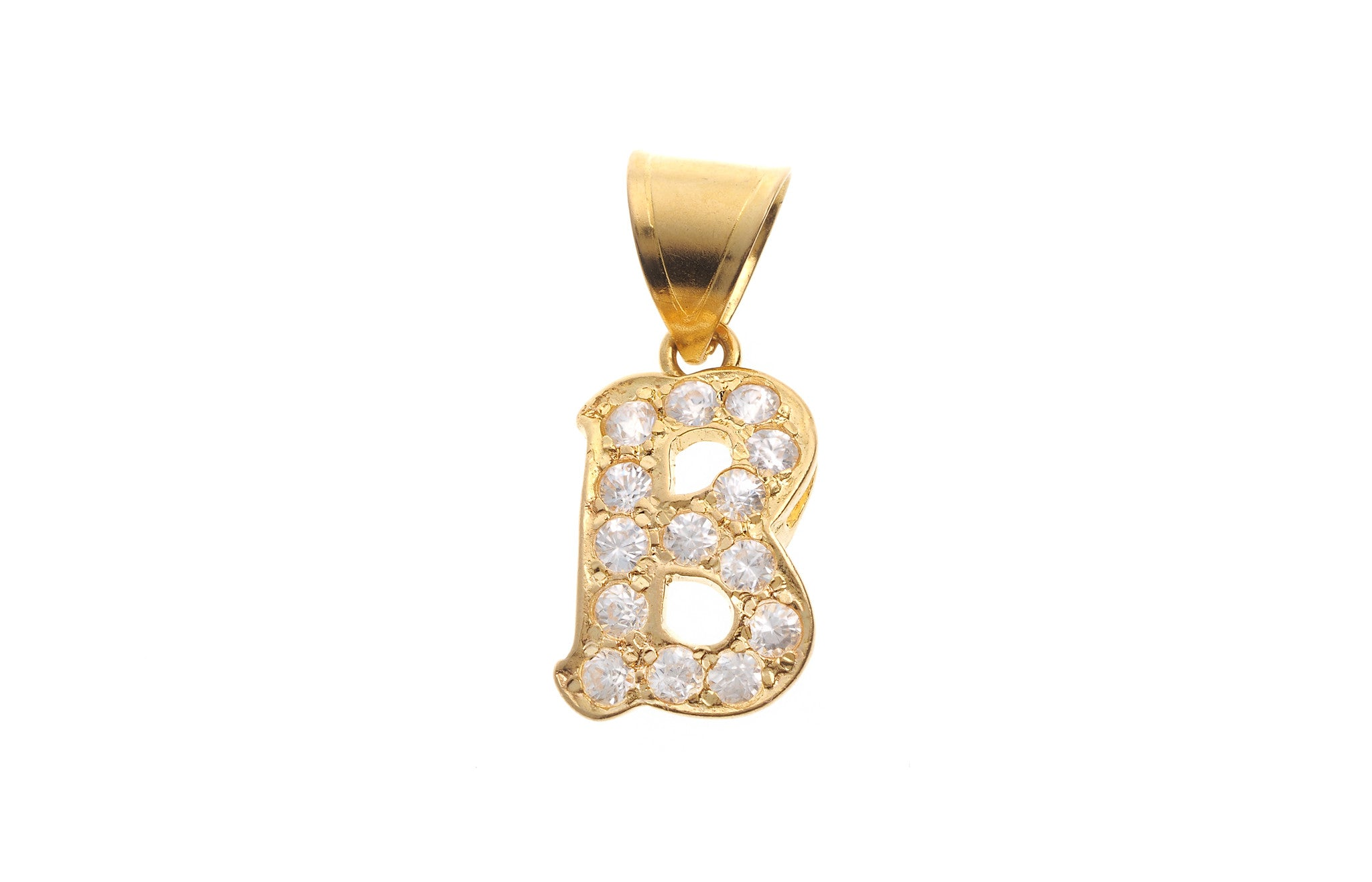 'B' Initial Pendant 22ct Yellow Gold Cubic Zirconia (1.9g) P-5599