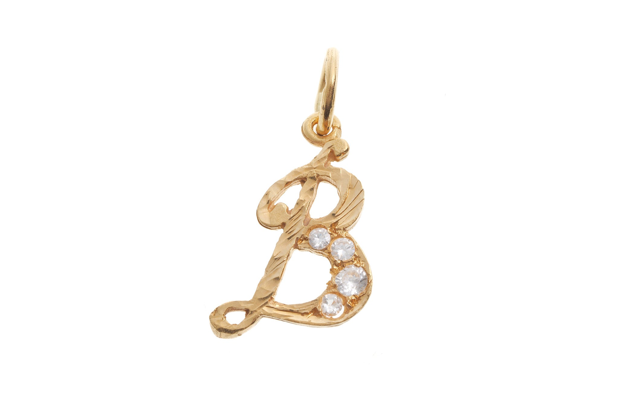 'B' Initial Pendant 22ct Yellow Gold Cubic Zirconia (1.8g) P-5600